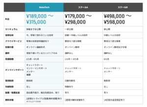 RaiseTechの価格表です。